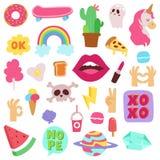 Dziewczyny mody symboli/lów wektorowi majchery łatają śliczne kolorowe odznaki zabawy kreskówki ikony konik, rogu koń, wargi, mił Obraz Stock