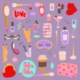 Dziewczyny mody symboli/lów wektorowi majchery łatają śliczne kolorowe odznaki zabawy kreskówki ikony konik, rogu koń, wargi, mił Zdjęcie Royalty Free