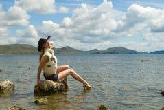 dziewczyny morze Zdjęcia Stock