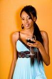 dziewczyny na czerwone wino zdjęcie royalty free