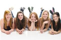 Dziewczyny na podłoga Obrazy Royalty Free