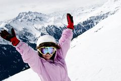 dziewczyny narciarski nastolatka wakacje Fotografia Royalty Free