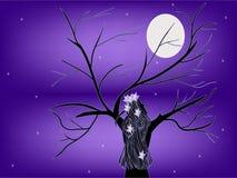 Dziewczyny nocy drzewo Zdjęcia Royalty Free