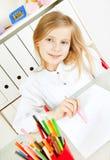 dziewczyny obrazu obrazka stół Obraz Stock