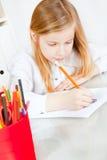 dziewczyny obrazu obrazka stół Obrazy Stock