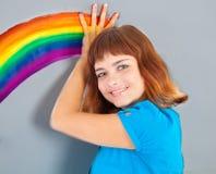 dziewczyny obrazu tęczy ściana Zdjęcia Royalty Free