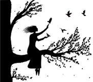 Dziewczyny obsiadanie na dużej gałąź mienie gołębie lata ona, jesień wiatr i ptak sylwetka, tajny miejsce ilustracji