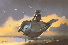 Dziewczyny obsiadanie na gigantycznym futurystycznym ptaku ilustracji