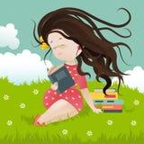 Dziewczyny obsiadanie na trawie czyta książkę royalty ilustracja