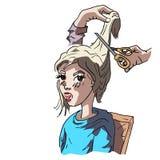 Dziewczyny obsiadanie przy fryzjerem Obrazy Stock