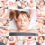 Dziewczyny odbiorczy chiropractic lub osteopathic ręczny traktowania col obraz royalty free