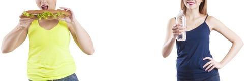 Dziewczyny odchudzanie przed i po diety kanapka, wodny nadmierny sukces zdjęcie royalty free
