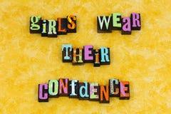 Dziewczyny odzieży zaufania edukacji feminizm zdjęcia stock