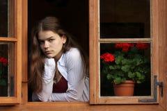 dziewczyny okno Zdjęcie Royalty Free
