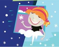 dziewczyny okno s ilustracja wektor