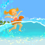 dziewczyny pływanie szczęśliwy nadmuchiwany mały ringowy Zdjęcia Royalty Free