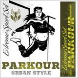 Dziewczyny parkour skacze set wektorowi wizerunki - ilustracja i emblemat - Obraz Stock