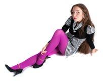 dziewczyny piękny podłogowy sittinh Zdjęcia Stock