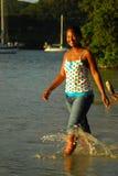 dziewczyny piękna czarny wyspa Obrazy Royalty Free