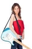 dziewczyny piękna elektryczna gitara Obraz Stock