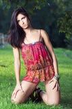 dziewczyny piękna trawa Zdjęcie Stock