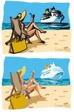 dziewczyny plażowy lato Obraz Royalty Free