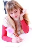 dziewczyny poezja pisze Fotografia Stock