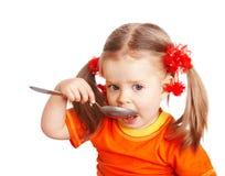 dziewczyny pomarańcze łyżka Zdjęcie Stock