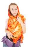 dziewczyny pomarańczowi chusty potomstwa zdjęcie royalty free