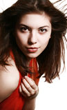 dziewczyny portreta czerwieni szalik Zdjęcie Stock