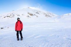 Dziewczyny pozycja w snowed krajobrazie fotografia stock