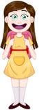 Dziewczyny pozycja z szkolną torbą Obraz Royalty Free