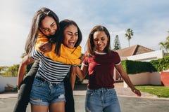 Dziewczyny prosiątka jazda na jej przyjacielu fotografia stock