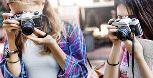 Dziewczyny przyjaźni meliny fotografii Podróżny Wakacyjny pojęcie Zdjęcia Stock