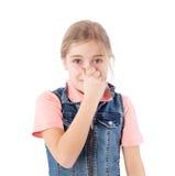 Dziewczyny przymknięcia nos Obraz Royalty Free