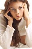 dziewczyny puloweru biel wełna Obraz Stock