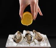 Dziewczyny ręka, trzy ostrygowa skorupa z cytryna sokiem Obrazy Stock