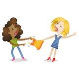 Dziewczyny robi zakupy walczyć odziewają ilustracja wektor