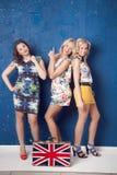 dziewczyny rozochocony przyjęcie trzy Zdjęcia Royalty Free