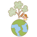 Dziewczyny rysunkowy drzewo na ziemi Zdjęcie Stock
