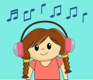 dziewczyny słuchał muzyki ilustracja wektor