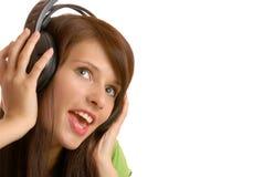 dziewczyny słuchał muzyki Obraz Stock