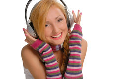 dziewczyny słuchał muzyki Zdjęcie Royalty Free