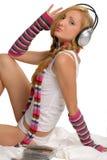 dziewczyny słuchał muzyki Zdjęcia Royalty Free