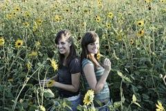dziewczyny słonecznikowe Zdjęcia Stock