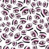 Dziewczyny ` s przygląda się makeup bezszwowego wzór Wektorowa ilustracja odizolowywająca na biały tle Zdjęcia Stock