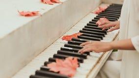 Dziewczyny ` s ręki na klawiaturze pianino Liście klonowi rozpraszający na kluczach zbiory wideo