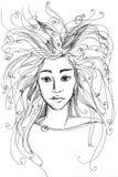 Dziewczyny ` s twarz jest melancholiczna Obrazy Stock