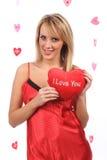 dziewczyny serca czerwień Zdjęcie Stock
