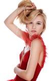 dziewczyny smokingowa czerwień Obrazy Royalty Free
